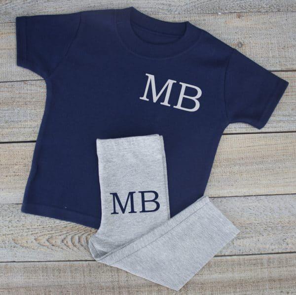 Personalised Navy Baby Loungewear Set
