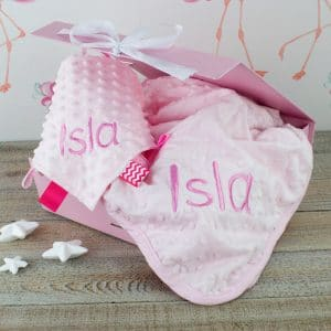 personalised pink baby girl gift set = newborn blanket & comforter