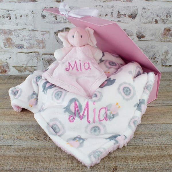 personalised baby girl elephant gift set