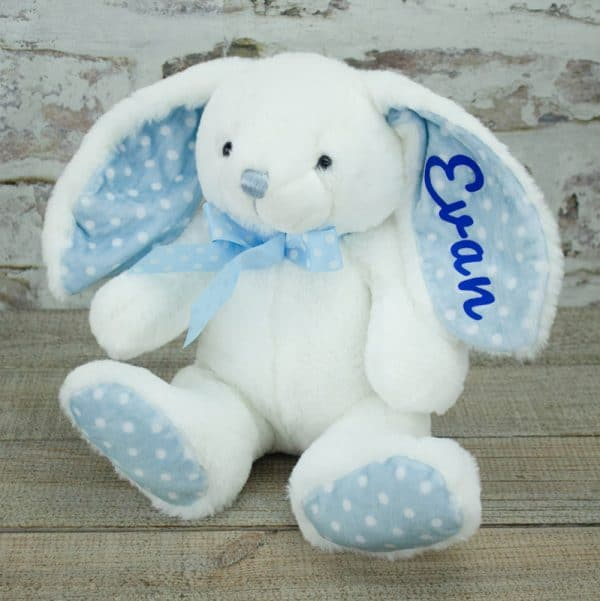 Personalised Baby Boy Bunny Rabbit - White
