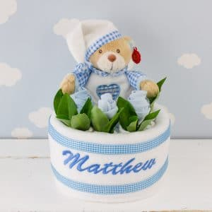 Personalised Teddy Bear Baby Nappy Cake