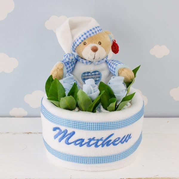 Personalised Teddy Bear Baby Nappy Cake