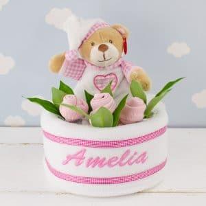 Personalised Baby Girl Teddy Bear Nappy Cake