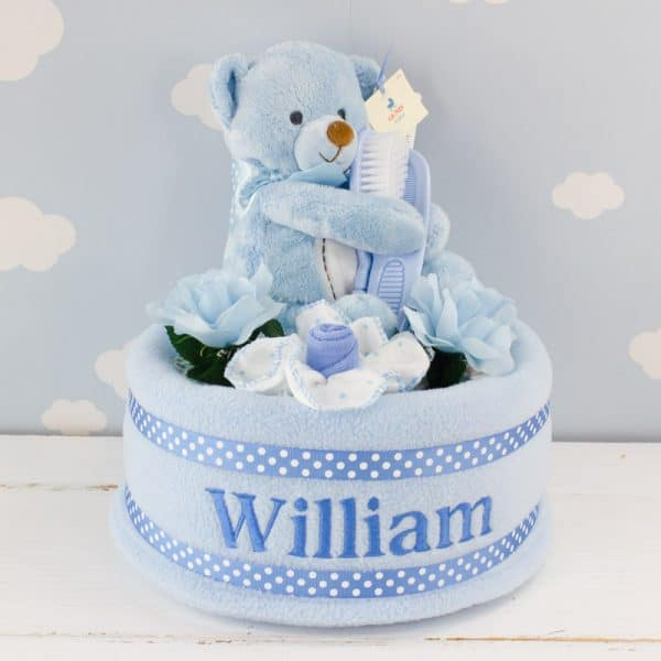 Personalised Baby Boy Nappy Cake & Teddy Bear