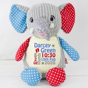 'Personalised Grey Patchwork Elephant Soft Toy'