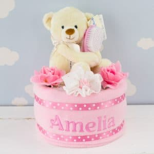 Personalised Baby Girl Teddy bear Nappy Cake