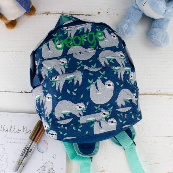 Personalised kids Backpack - Sloth Baby Gift