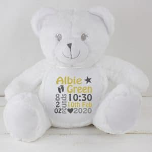 Personalised White Baby Teddy Bear
