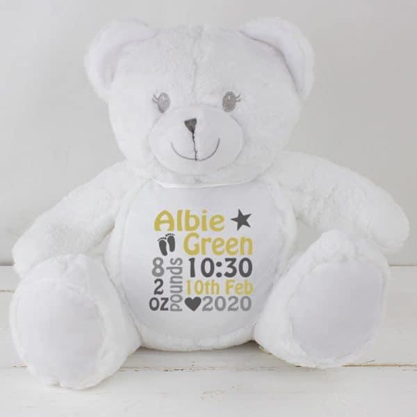 Personalised White Baby Teddy Bear