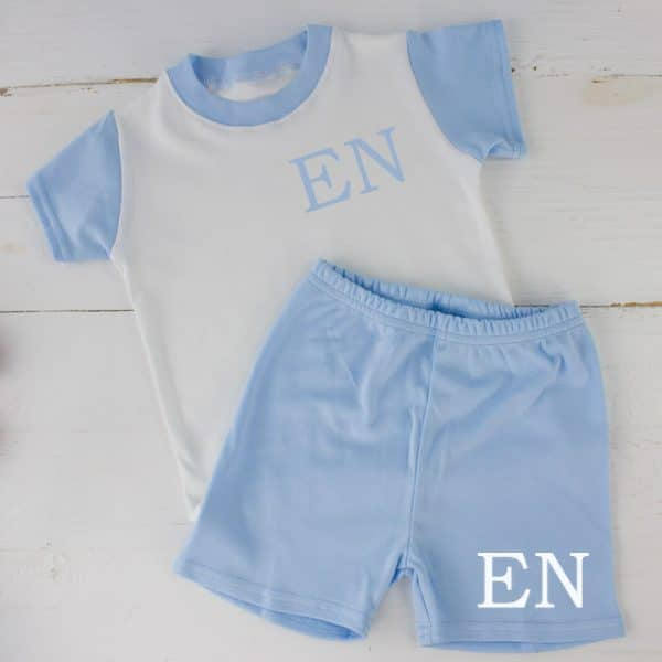 Personalised Blue Baby Boy SUmmer Loungewear