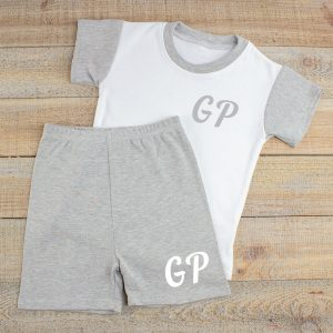 Personalised Grey & White Baby Summer Loungewear
