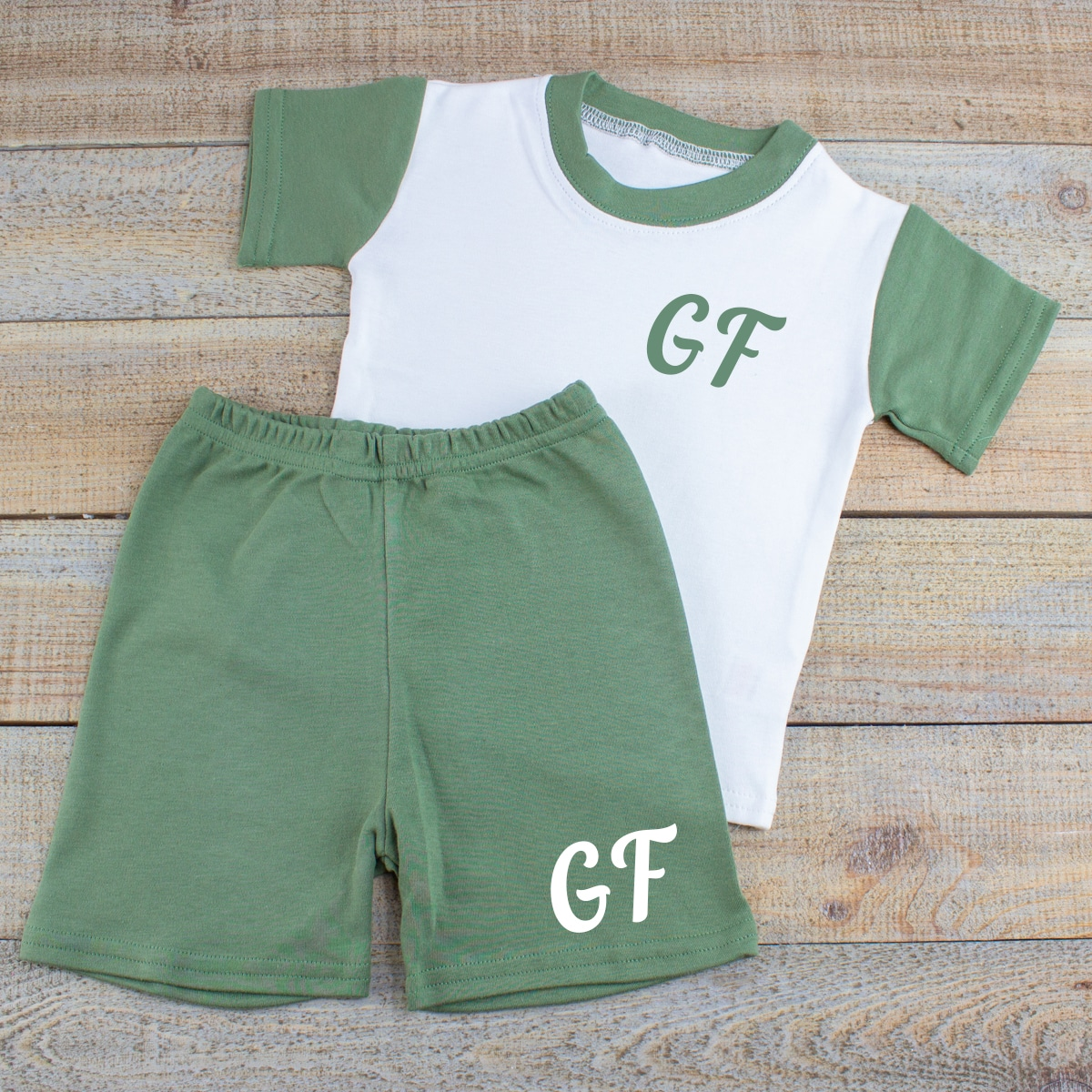 Personalised Khaki Baby Summer Clothes