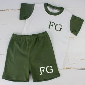 Personalised Khaki Baby Summer Loungewear Set