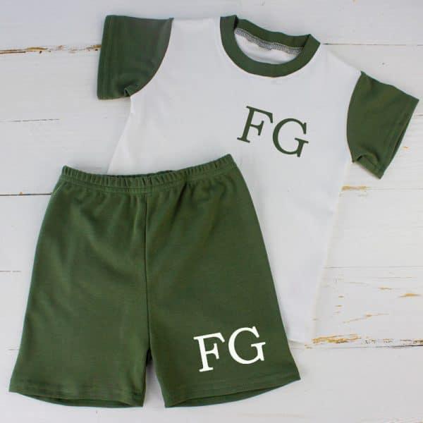 Personalised Khaki Baby Summer Loungewear Set