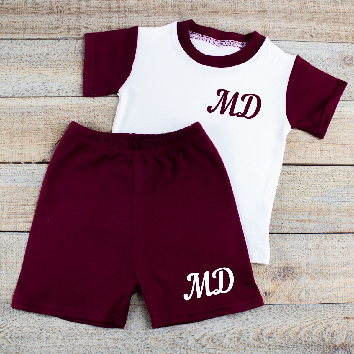 Personalised Maroon Baby Summer Clothes Set