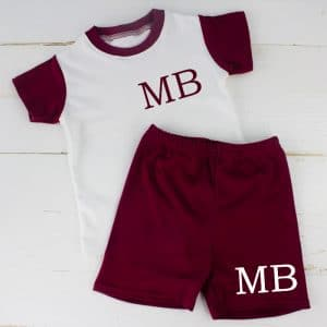 Personalised Maroon Baby Summer Clothes & Loungewear