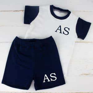 Personalised Navy Baby Boy Summer Loungewear