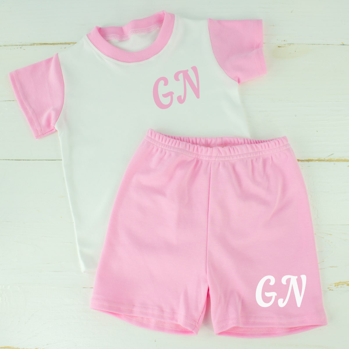 Personalised Pink Baby Girl Summer Clothes Set