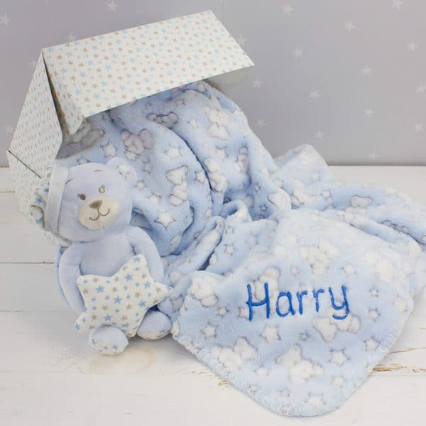 Personalised Baby Boy Teddy Bear Gift Set