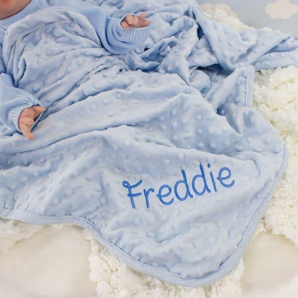 Personalised Blue Baby Boy Blanket