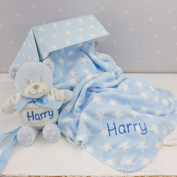 Personalised Baby Boy Teddy Bear & Blanket Gift Set