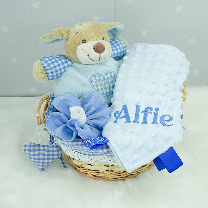 Personalised Baby Boy Gift Basket & Personalised Baby Comforter