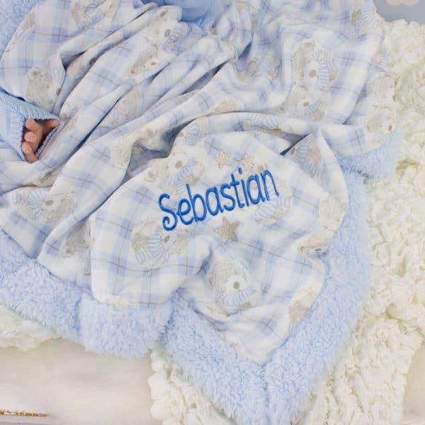 Personalised Baby Boy Blue Blanket