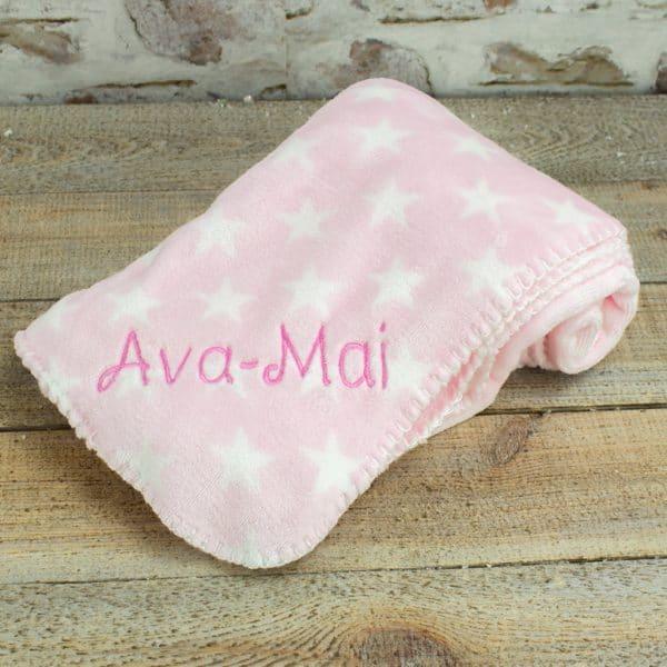 Personalised Pink Star Baby Blanket
