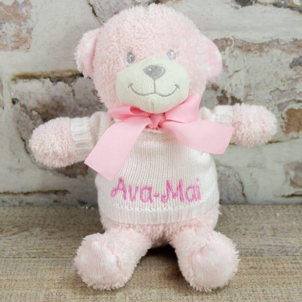 Personalised Pink Baby Teddy Bear