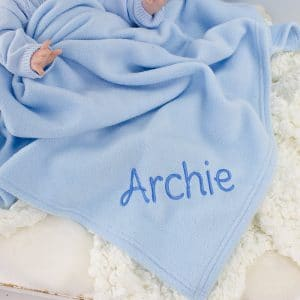 Personalised Baby Boy Blue Blanket