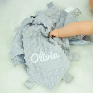 personalised grey baby taggie comforter