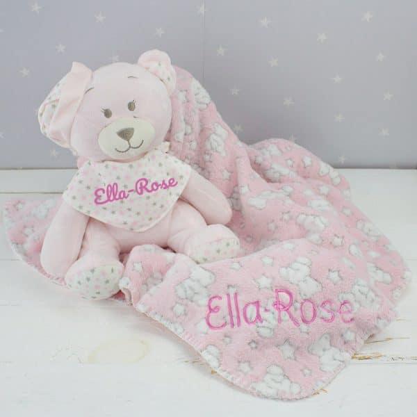 Personalised Baby Girl Teddy Bear & Blanket Gift Set