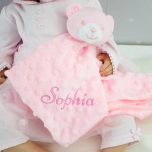 personalised pink teddy bear comforter