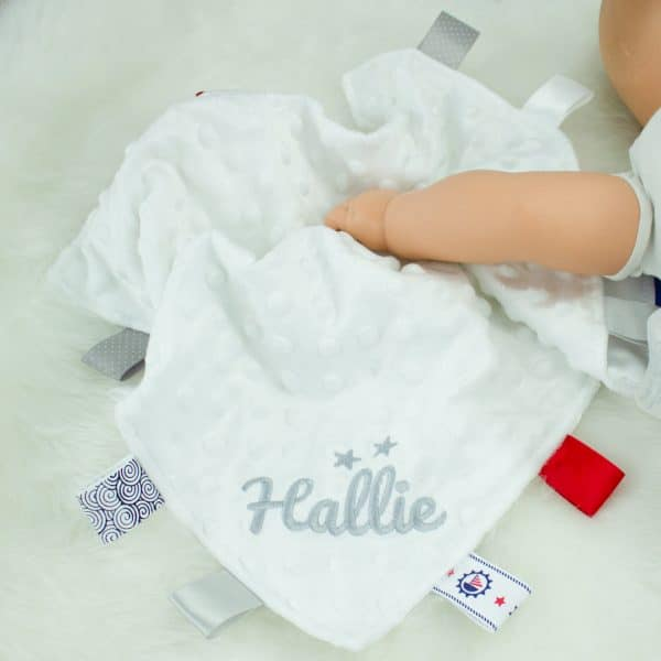 Personalised White Baby Taggie Comforter