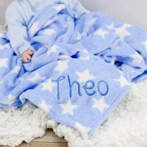 personalised blue baby boy star blanket