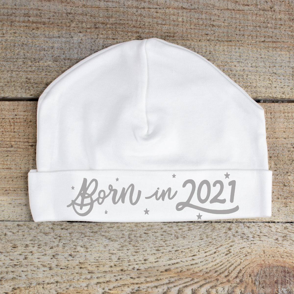 Born in '2021' White Baby Hat