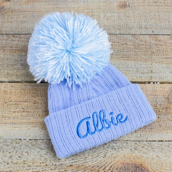 Personalised Baby Boy Pom Hat