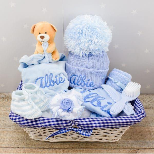 Personalised Baby Boy Gift Basket - Essentials