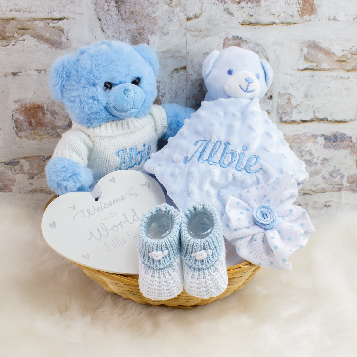 Personalised Baby Boy Teddy Bear Gift Basket