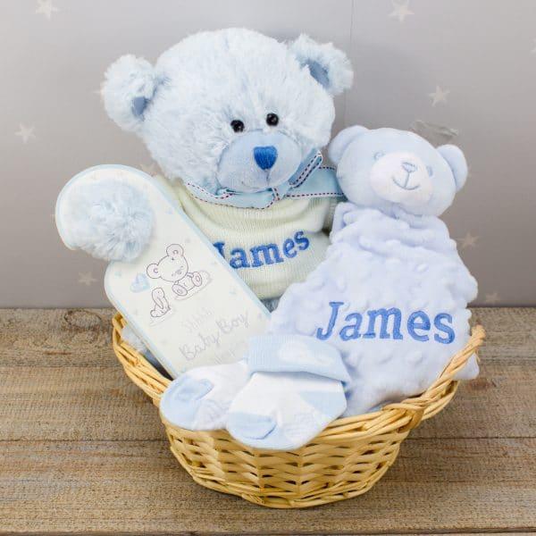Personalised Baby BOy Teddy Bear & Comforter Gift Basket