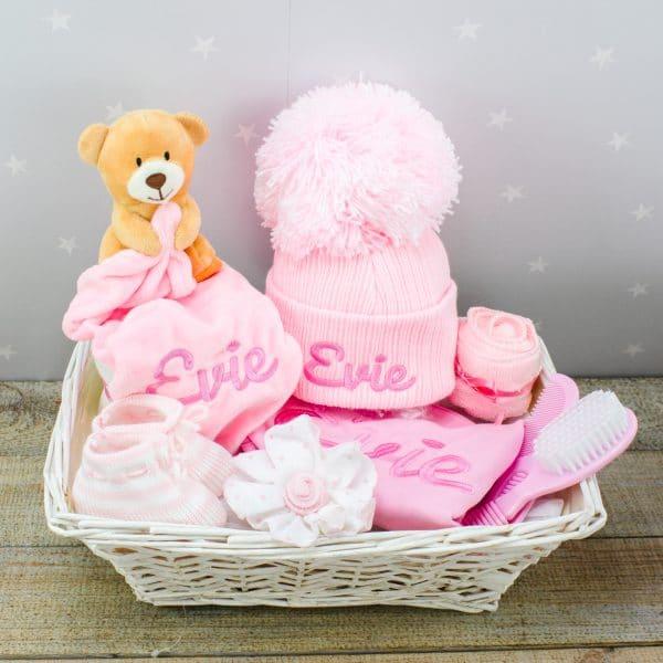 Personalised Baby Girl Gift Basket