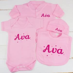 Personalised Baby Girl Clothes Gift Set