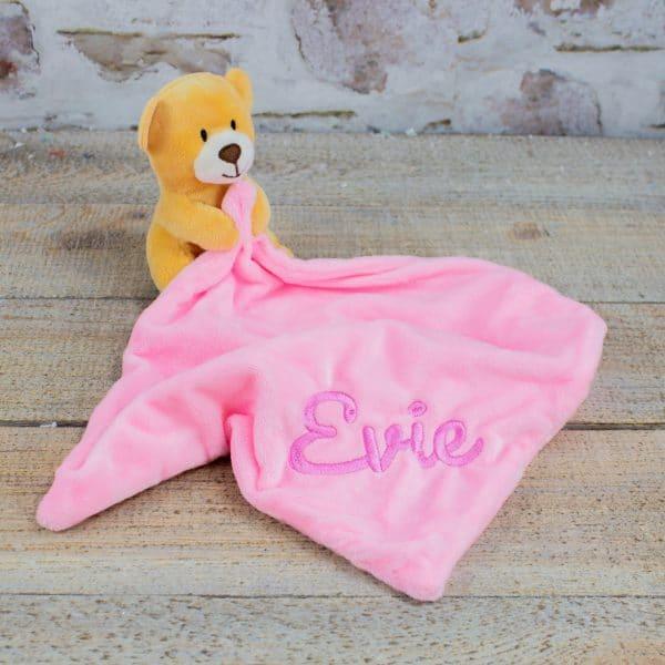 Personalised Pink Teddy Bear Comforter