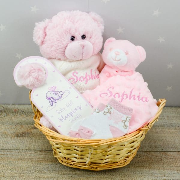 personalised baby girl teddy bear & comforter gift basket