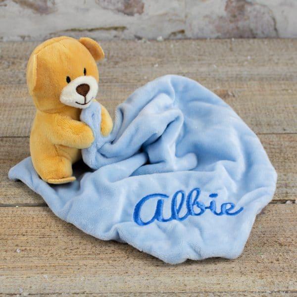 Personalised Baby Boy Teddy Bear Comforter