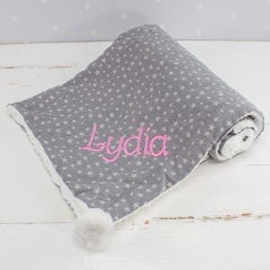 Personalised Star Grey Baby Blanket