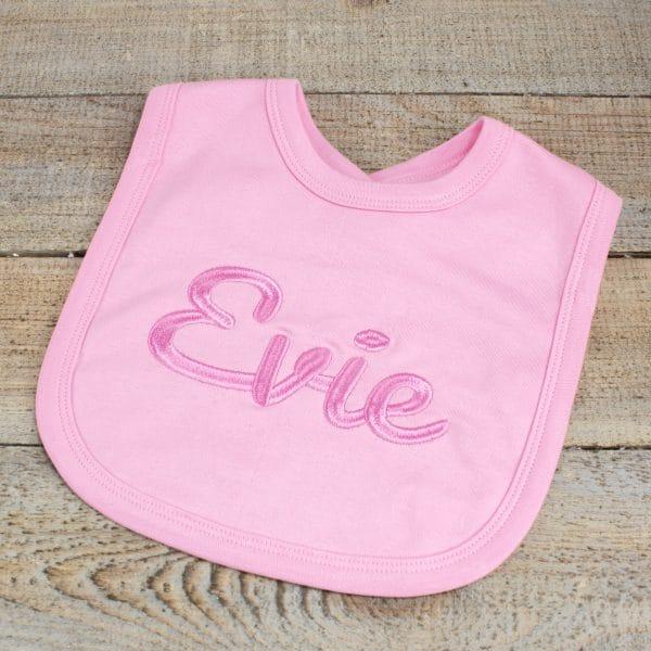 Embroidered Baby Girl Bib