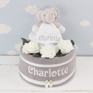 Perosnalised Elephant Comforter & Grey Nappy Cake