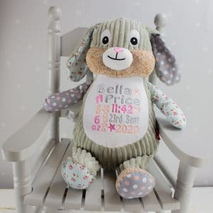 personalised baby girl patchwork bunny rabbit