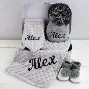 personalised unisex winter baby gift box
